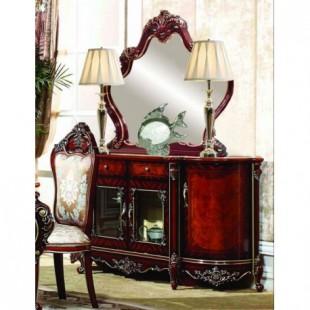 Большой буфет с зеркалом в классическом цвете орех с золотой патиной, гарнитур Сусанна со склада