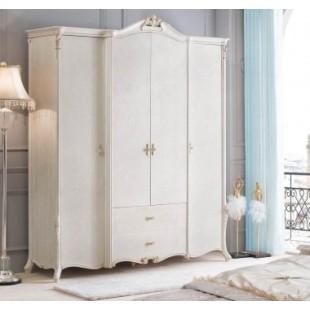Купить вместительный классический шкаф на 4 двери в шикарную спальню Classic во французском стиле.