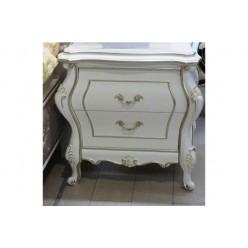 Белая прикроватная тумба с патиной в спальню Версаль
