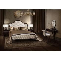 Деревянная кровать с мягким изголовьем 1800 в спальный гарнитур Грация.