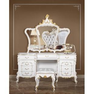 Белый туалетный стол с зеркалом в спальню Людовик, Энигма