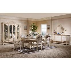 Классическая витрина 4 двери в гостиную Ренессанс с резной короной
