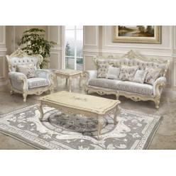 Классический прямоугольный кофейный столик Ренессанс в гостиный гарнитур с золотой патиной