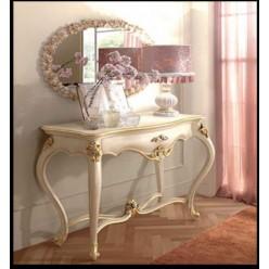 Трюмо + зеркало с резным орнаментом с золотой патиной в спальню Романтика в классическом стиле.