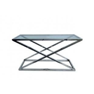 Столик журнальный из метала со стеклянной столешницей DT-2458HW, Китай