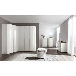 Белый глянцевый шкаф для одежды Дама Бьянка, Италия