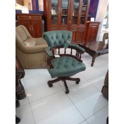 Зеленое кресло для офиса из натуральной кожи H033#