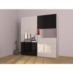 Бело-черный шкаф в спальню Гармония