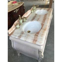 Белая тумба с патиной (золото, серебро) в ванную, Китай