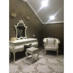 Белый туалетный стол с зеркалом в спальню Шампань, Энигма