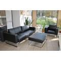 Прямой кожаный диван от производителя ЛВС