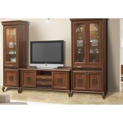 Витрина двухдверная с ТВ комодом в мебельный гарнитур Лаура