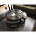 Круглый столик из дерева и стекла, Китай
