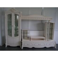 Белая стенка Жозефина в гостиный гарнитур в стиле классика