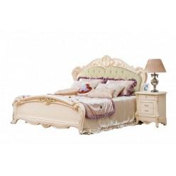 Светлая кровать 1600 с мягким изголовьем Катрин