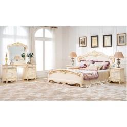 Светлая кремовая кровать с твердым изголовьем 1600 Катрин