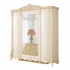 Кремовый четырехдверный шкаф  в мебельный гарнитур Катрин