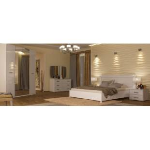 Белая двухспальная кровать 1800 с прямым деревянным изголовьем Белла, Миромарк