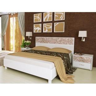 Белая кровать 1800 с подъемным механизмом Флора, Миромакс