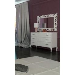 Белый комод с зеркалом в спальню Империя