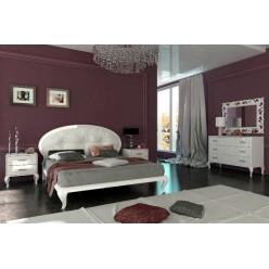 Белая кровать 1600 с обитым изголовьем Империя