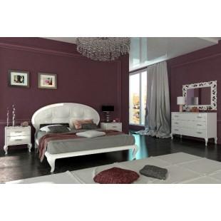Белая кровать 1600 с обитым изголовьем Империя, Миромарк