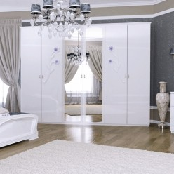 Белый шестидверный шкаф с зеркалами в спальню Лулу